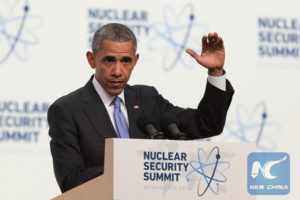 President Barack Obama speaks at the Nuclear Security Summit in Washington D.C. on April 1. / Xinhua / Li Muzi