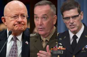 From left: James Clapper, Gen. Joseph Dunford, Gen. Joseph Votel
