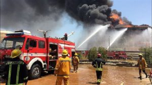 Firefighters battle a blaze at the Bu Ali Sina Petrochemical Complex in Iran's Khuzestan Province on June 8.