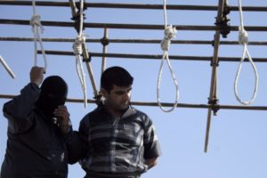 A man faces execution in Mashad, Iran.