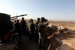 Kurdish forces in village near Mosul.