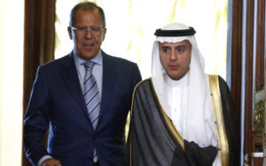 Russian Foreign Minister Sergey Lavrov meets with Saudi Foreign Minister Adel al-Jubeir. / AP / Alexander Zemlianichenko