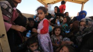 Refugees from al-Shirqat and Qayyarah in late July.