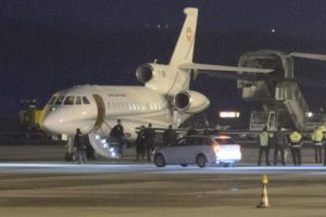 A plane arrives in Geneva carrying American hostages that were released from Iran on Jan. 17.