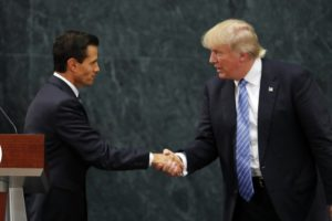 Mexico President Enrique Pena Nieto and Republican presidential nominee Donald Trump shake hands after a joint statement at Los Pinos, the presidential official residence, in Mexico City, Wednesday, Aug. 31. /Dario Lopez-Mills/AP