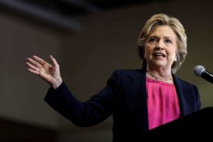 Democratic presidential candidate Hillary Clinton speaks during a campaign stop at Wake Technical Community College. /AP