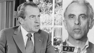 President Richard Nixon is shown in the Oval Office in Oct. 13, 1973; at right, Eugenio R. Martinez.