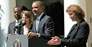 President Barack Obama successfully has appointed more than 320 federal judges. Here, he speaks in the Rose Garden on June 4, 2013, while announcing nominees to fill vacancies on the U.S. Court of Appeals for the District of Columbia. They are, from left, Robert Leon Wilkins, Cornelia Pillard, and Patricia Ann Millett. After floor fights, the Senate eventually confirmed all three. (Photo: Kevin Lamarque/Reuters/Newscom