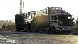 The White House says it holds Russia responsible for Syria aid convoy attack. /Aleppo 24 news via AP)
