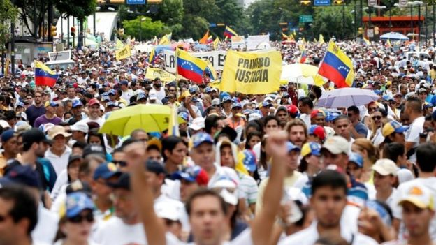 'Bring down Maduro': Masses of protesters flood Caracas streets