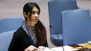 The story of Nadia Murad Basee, an Iraqi Yazidi woman who survived sexual slavery at the hands of ISIL, moved UN Secretary General Ban Ki-Moon to tears. / Reuters
