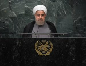 Iran President Hassan Rouhani at the United Nations General Assembly in New York, on Sept. 22. / Timothy A. Clary / AFP