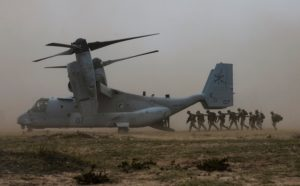 U.S. Marines with the Special-Purpose Marine Air-Ground Task Force Africa load into an V-22 Osprey. /Krystal Ardrey/U.S. Air Force