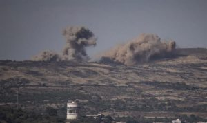 View from Israeli Golan Heights of fighting in Syria. /Basel Awidat/Flash 90