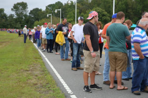Crowds lined up more than three hours before Donald Trump's appearance Tuesday in Kenansville. /Carolina Journal photo by Don Carrington