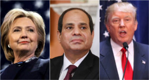 Egyptian President Abdul Fatah Sisi, center, met with both Hillary Clinton and Donald Trump this week in New York.