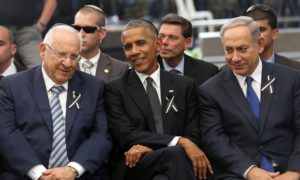 At last week's funeral for former president Shimon Peres, Obama pointedly spoke about the 'unfinished business of peace'. /UPI/Barcroft Images