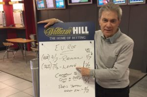 Graham Sharpe, spokesman for betting shop chain William Hill points to the odds for Britain's EU referendum in a William Hill shop in London on June 13, 2016. /AP