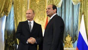 Russian President Vladimir Putin with Egyptian President Abdul Fatah Sisi. /AP