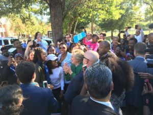 Hillary Clinton campaigns at the Chavis Community Center in Raleigh, North Carolina. /Twiiter