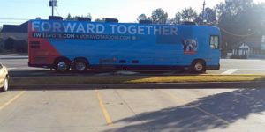 "Hillary's ""Forward Together"" bus went through Lawrenceville, Georgia, and appeared to be illegally dumping human waste. /Mike Robins photo"