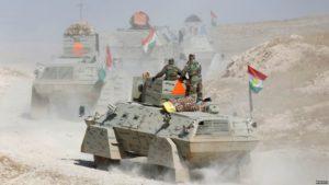 Kurdish forces advance toward Mosul on Oct. 18.