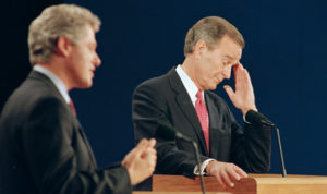 Bill Clinton debates George H.W. Bush in 1992.