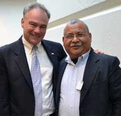"Tim Kaine with Father Ismael ""Melo"" Moreno"