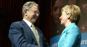 On the same page: George Soros and Hillary Clinton. /Getty Images