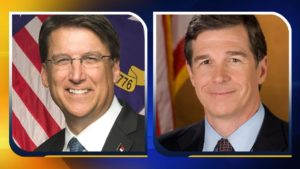 Gov. Pat McCrory, left, and Roy Cooper
