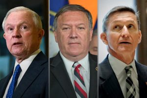 From left, Sen. Jeff Sessions, Rep. Mike Pompeo and Lt. Gen. Michael Flynn