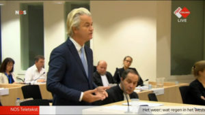 Geert Wilders in court on Nov. 23. /NPO Nieuws video screenshot