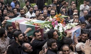 Funeral in Iran of Revolutionary Guards soldier killed in Syria. /Reuters