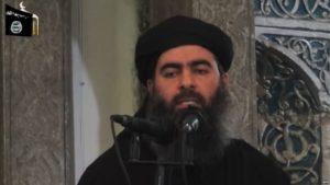 Abu Bakr al-Baghdadi made a rare appearance in Mosul in June 2014. / AFP