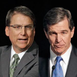 Gov. Pat McCrory trails Roy Cooper by about 5,000 votes.