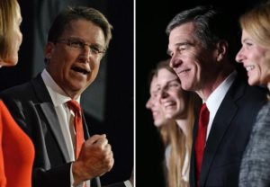 North Carolina Gov. Pat McCrory, left, and Democrat challenger Roy Cooper. / Reuters