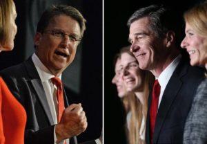 North Carolina Gov. Pat McCrory, left, and Democrat challenger Roy Cooper. / Reuters