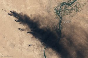 On August 17, 2016, the Operational Land Imager (OLI) on Landsat 8 acquired an image (above) of dense smoke plumes roughly 50 kilometers (30 miles) south of Mosul. /NASA Earth Observatory