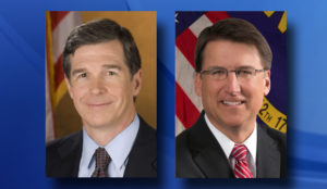 Roy Cooper, left, and Gov. Pat McCrory