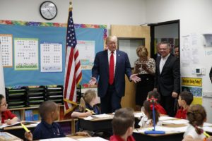 Donald Trump visits a classroom of first graders first-graders at the International Christian Academy in Las Vegas during the 2016 campaign.