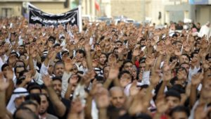 Protesters in Qatif, Saudi Arabia.