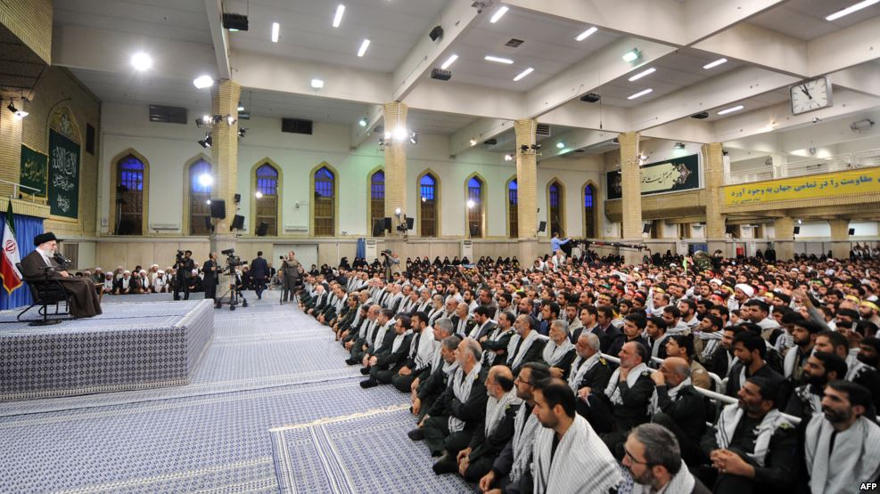 Iran's supreme leader, Ayatollah Ali Khamenei, speaks during a meeting with members of the Basij force in Teh3ran on Nov. 22.