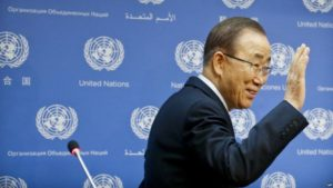 Secretary-General Ban Ki-moon arrives for his final press conference at U.N. headquarters, Dec. 16. /AP