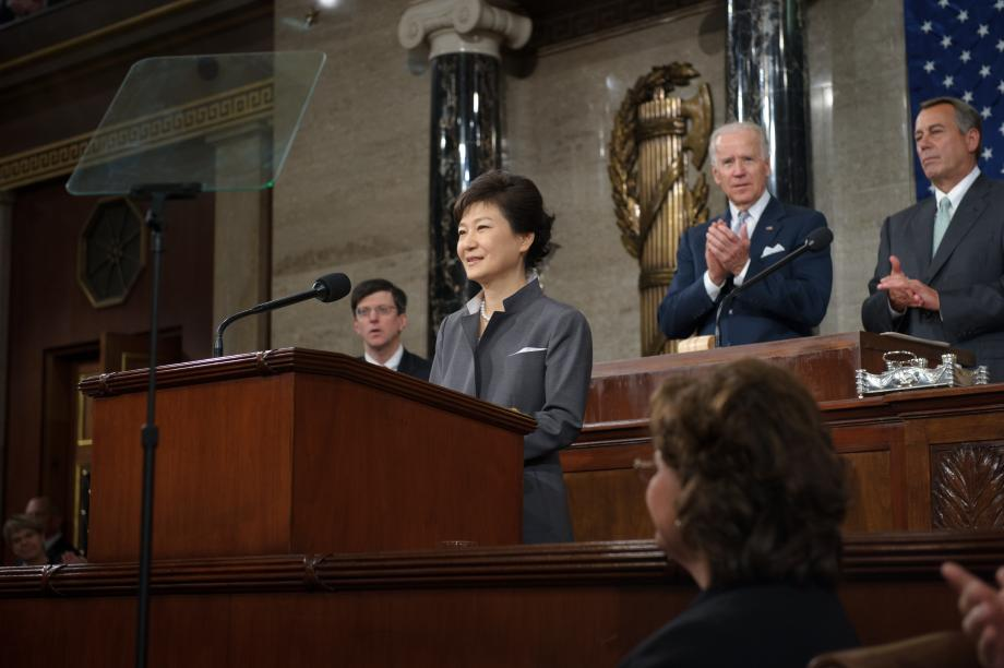 South Korean President Park Geun-Hye speaks to a joint session of Congress on May 8, 2013.