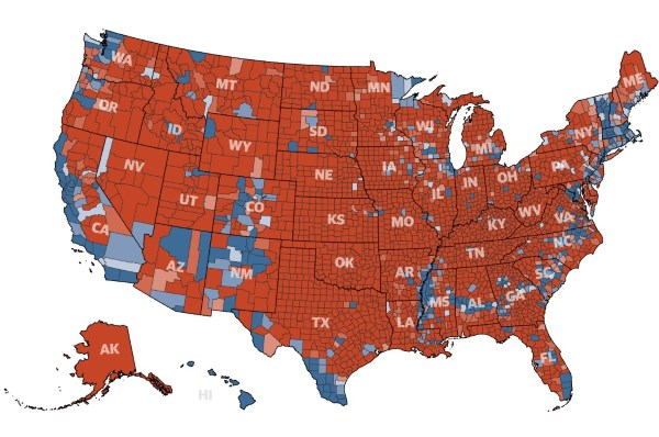 America rejects the 'coastal elites': Trump won 3,084 of 3,141 U.S. counties
