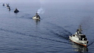 Iranian naval vessels during a military exercise.
