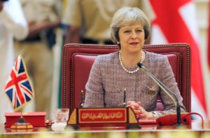 British Prime Minister Theresa May attends the first Gulf Cooporative Council's (GCC) '' GCC British Summit'', in Sakhir Palace Bahrain, Dec. 7. /Reuters