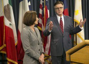 Texas Lt. Gov. Dan Patrick and state Sen. Lois Kolkhorst introduce Senate Bill 6. /AP