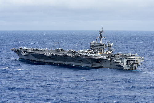 U.S. aircraft carrier group begins patrols in disputed S. China Sea