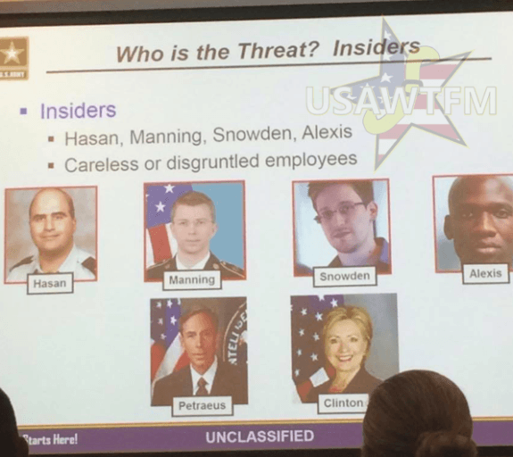 Army PowerPoint presentation lists Hillary Clinton as example of 'insider threat'